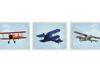 Vintage Airplane Art Print Set - Nursery Baby Boy Room Red Blue Gray Biplane Flying Aviation Toddler Big Boy Room Home Decor Photograph
