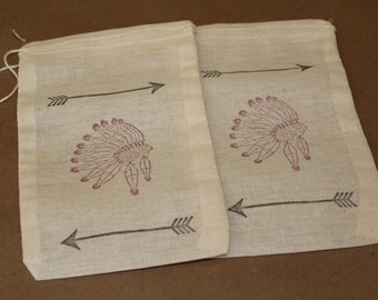Set of 10 Native American Chief Muslin Drawstring Bags
