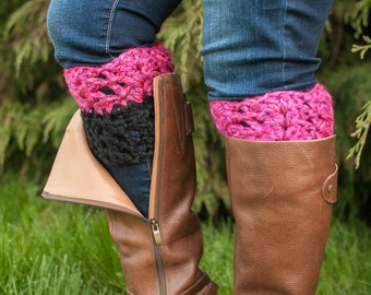 Dual Colored, Two-in-One Chunky Boot Cuffs, Boot Toppers - Made to Order, Custom, Color Choice