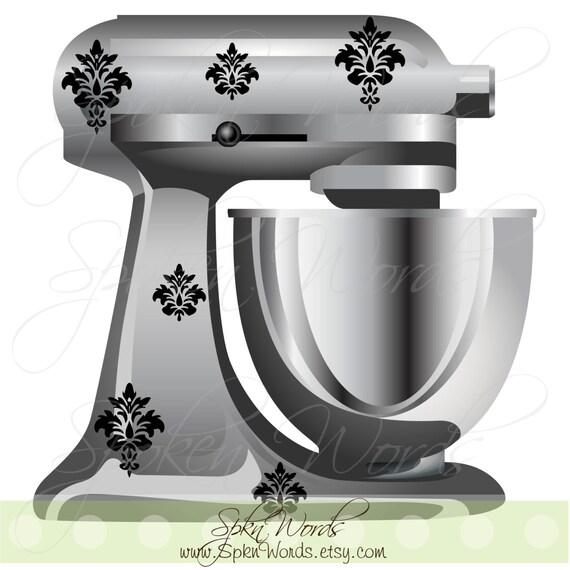 Kitchen Mixer Decals ~ Kitchenaid mixer damask decals decoration vinyl decal for