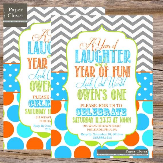 First Birthday Party Invitation Boy Chalkboard: First Birthday Invitations Boy Chalkboard By Paperclever
