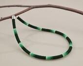 Ndebele Stitch Beadwork Necklace - Deep Green Gradient - Equisetum