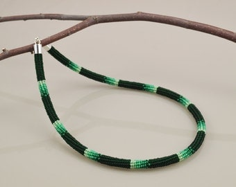 Ndebele Stitch Beadwork Necklace - Deep Green Gradient - Equisetum
