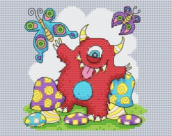 Cross stitch PATTERN chart, happy toddling monster, instant download pdf, nursery decor, art, picture, colorful, mushrooms and butterflies