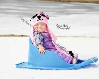 Baby Panda Bear Scarf Hat - Crochet Newborn Beanie Boy Girl Costume Winter  Photo Prop Cap Christmas Outfit