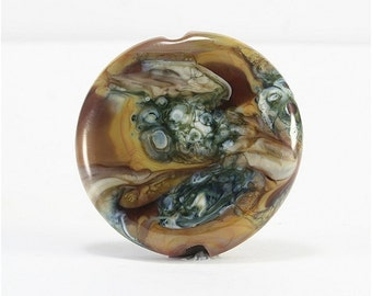 Lampwork Bead Handmade Lentil Shaped Lampwork Focal Ivory Brown Topaz Gray Beige SRA DUST Team LE Team AWHIMteam
