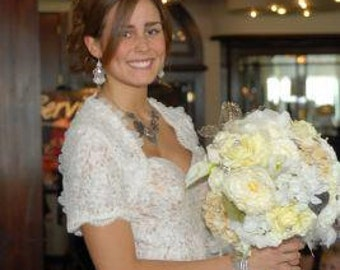 Couture Keepsake Silk and Feather Bridal Bouquet with Custom Brocade Handle and Crystal Embellishments