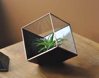 Magus Earth Terrarium Kit, medium cube glass planter in copper or silver color -- stained glass -- terrarium supplies -- eco friendly