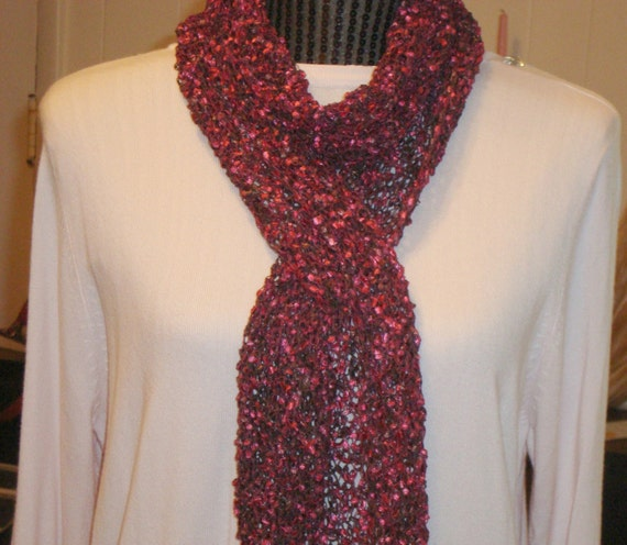 Knit Scarf Pattern Ladder Yarn : Scarf Knit. Mom.Ladder Ribbon Yarn. Wine.Fringe.Sale.Light.Gift.Ready to ship.