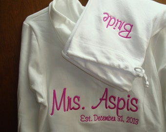 Personalized Embroidered Bride Tracksuit Hoodie and pants  - Bridal Party Tracksuit 2pcs. Personalized the way you want!