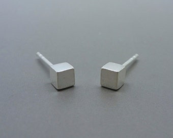 Silver Cube Earrings - Tiny Solid Sterling 925 Silver Small Cube Square Ear Studs