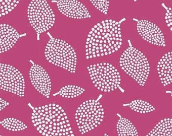 Windham Fabrics - Mormor Collection - Abstract Dotted leaves - Dark Pink - Lotta Jansdotter - Choose Your Cut 1/2 or Full Yard