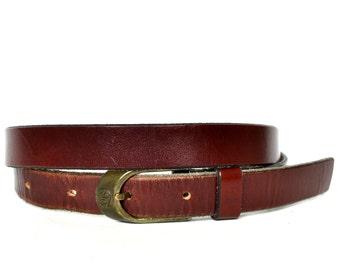 Vintage ETIENNE AIGNER Brown Burgundy Leather Skinny Belt 32 L