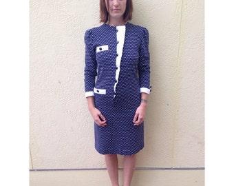 navy & white polka dot shift dress w/ fan collar