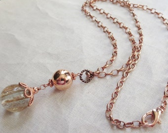 Golden Coppery Sand Quartz and Copper Pendant Necklace