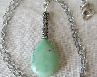 Natural Green Turquoise and Sterling Silver Pendant Necklace