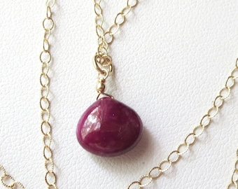 AAA Natural Ruby Briolette Pendant Nrcklace with 14k Gold Filled