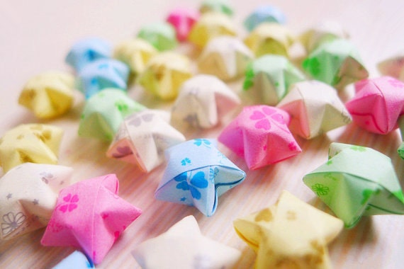 100 Cute Four Leaf Clover Origami Stars - Mixed Color