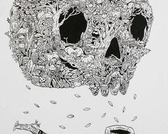 Day of the Dead (Dia de Los Muertas) Illustration Print by Caleb Harrington