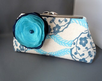 Aqua, Navy, Turquoise Linen Wedding Clutch for Brides, Bridesmaids, Mothers of the Bride Groom