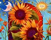 Sunflower Painting, Sunflower Decor, Solstice Parade art, Celestial Art, sun and moon décor, Santa Barbara Summer Solstice Parade,