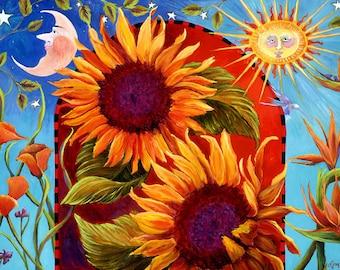 Sunflower Painting,Celestial art, sunflower prints, sunflower,Sunflower Decor, Sunflower, sunflower gallery wrap,  sunflower art