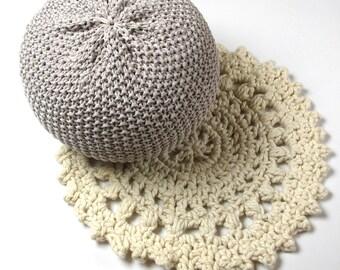 Crocheted, round, pure wool rug - MANDALA RUG - natural, raw, white, cream