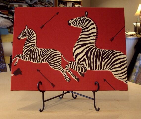 One Large Scalamandre Masai Red ZEBRAS Custom