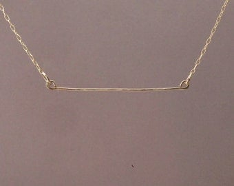Hammered Horizontal Gold Fill Bar Necklace also in Sterling Silver and Rose Gold