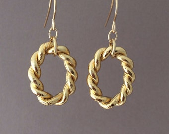 SALE Small Gold Twisted Hoop Earrings