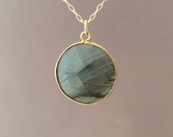 MEDIUM Gold Gray Labradorite Circle Necklace Long or Short