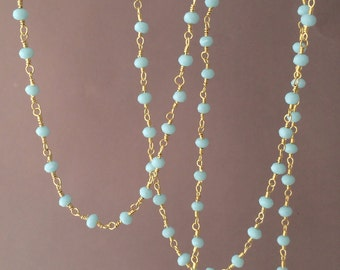 Long or Short Teal Amazonite Stone Gold Beaded Necklace