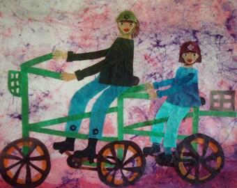 SALE Batik Fabric Collage Art Sunday Ride II (Tandem) Art for Children's Room