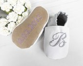 Baptism shoes for babies personalized with initial