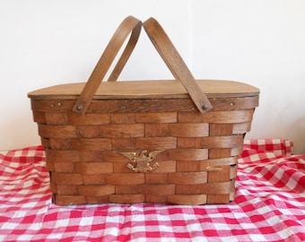 Vintage Picnic Basket Basketville Putney Vermont Red Checked Tablecloth Wooden Home Decor