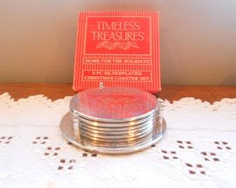 Vintage Holiday Coasters Silver Wreath Christmas Drink Coasters Decor Barware