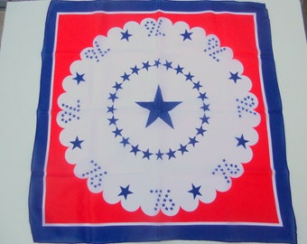 Vintage Scarf Patriotic Red White and Blue Women's Accessory Star Made in Japan