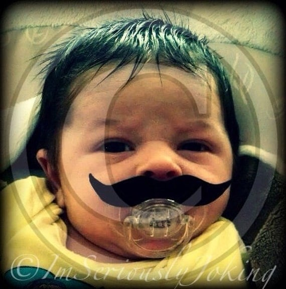 Mustache Pacifier - Baby Mustache - The Wise Guy- Little Man Party- Baby Shower gift- Baby gift- Little Man