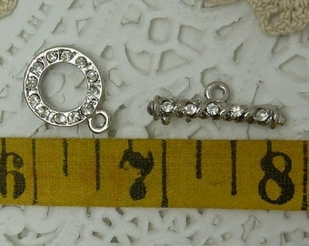 1 rhinestone toggle  clasp ring 15 mm round bar 20 mm long