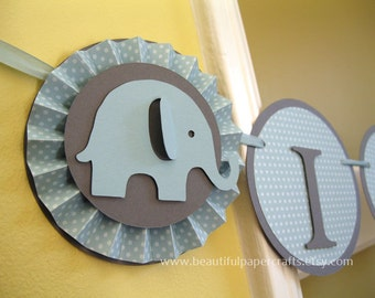 Ice Blue and Grey It's a Boy - Baby Elephant Banner - Elephant Baby Shower Decorations - Rosettes Custom Name Banner  - Custom Colors