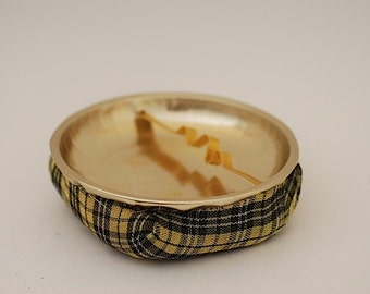 Retro Modern Ashtray with Plaid Bean Bag Pouch,  Bar Lounge Ashtray,  DAD Husband Cigar Collectable Ashtray, MAD MEN Movie Prop,