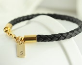 Personalized Mens Gold and Leather Bracelet,Gift for him, Black leather bracelet, Fathers Day Gift, Custom initial bracelet