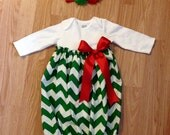 Christmas Baby Gown, chevron baby gown, infant holiday outfit mudan, sz nb-6m green matching sister, Headband sold separately
