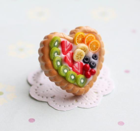 Fruit Pie Heart Ring  - sweet jewelry