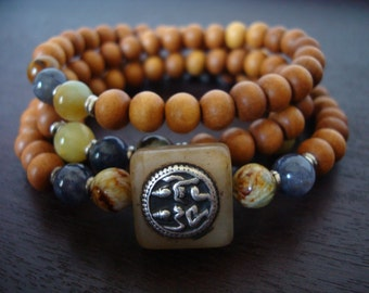 Women's Yellow Jade Shakti Mala - Indian Shiva Parvati Mala Necklace or Wrap Bracelet - Yoga, Buddhist, Meditation, Prayer Beads, Jewelry