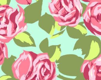 Tumble Roses in Pink/Aqua - Amy Butler's Love Collection for Rowan/Freespirit Fabrics - AB48 Pink - 1/2 Yard
