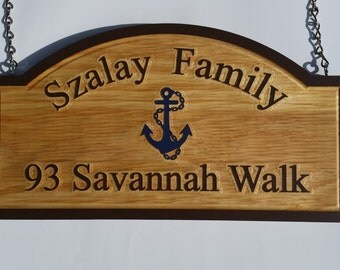 Personalized Carved Wood Sign / Plaque With Last, Address, and an Anchor