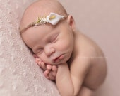Newborn Headband - Newborn Photo Prop: Newborn Tieback, Newborn Flower Crown, Newborn Halo, Organic Photograhy Props, Lily, White