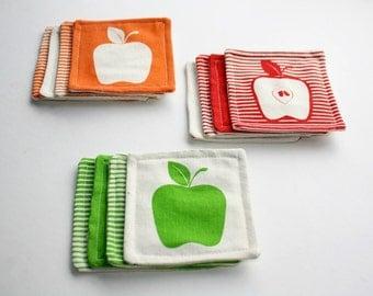 4 Fabric coasters - Apples screen printed coasters - Modern coasters - Set x 4