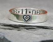 Personalized Jewelry - Personalized Sterling Silver Anniversary Ring - Heart with Custom Date